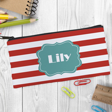 Design Your Own Orange Stripe Pencil Case