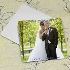 Wedding Photo, Square Personalized Coasters