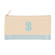 2 Tone Baby Blue Personalized Embroidered One Initial Small (Single Side) Cosmetic Bag
