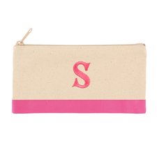 2 Tone Fuchsia Personalized Embroidered One Initial Small (Single Side) Cosmetic Bag