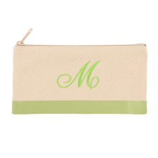 2 Tone Apple Green Personalized Embroidered One Initial Small (Single Side) Cosmetic Bag