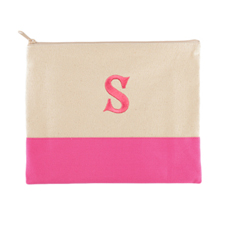 Embroidered One Initial Natural Hot Pink