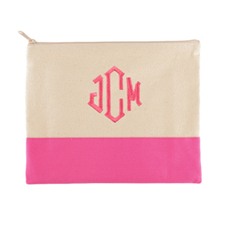 Personalized Embroidered 3 Initials Hot Pink Zip Bag (7.5 X 9 Inch)
