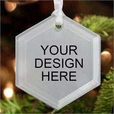 Custom Imprint Glass Ornament Hexagon 3