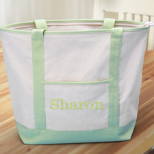 Embroidered Name Large Canvas Tote Bag, Lime Green
