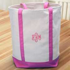 Personalized Embroidered Tote Medium Bag, Hot Pink