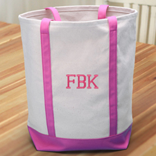 Personalized Medium Embroidered Tote Bag, Hot Pink