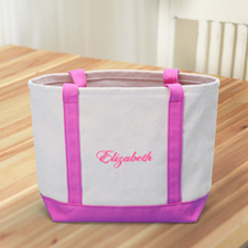 Custom Small Embroidered Tote, Hot Pink