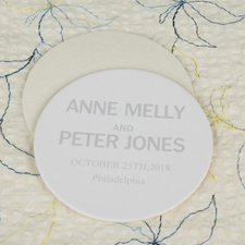 Classic Wedding Round Personalized Coasters
