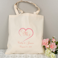 Personalized Heart, Monogrammed & Location Tote Bag