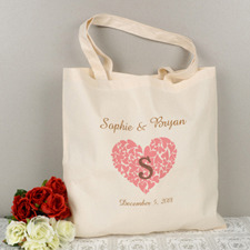 Personalized Heart, Monogrammed & State Tote Bag