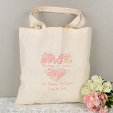 Personalized Flower Heart Tote Bag