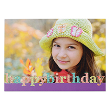 Create Your Own Glitter Happy Birthday Personalized Photo Cards, Purple Announcement Cards