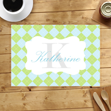 Personalized Green Aqua Square Placemats