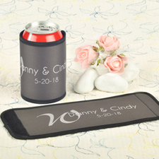Grey Wedding Personalized Can And Bottle Wrap