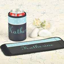 Aqua Black Polka Dot Personalized Can And Bottle Wrap