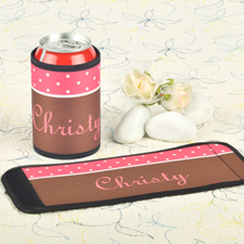 Carol Chocolate Polka Dot Personalized Can And Bottle Wrap