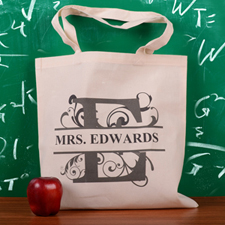 Personalized Initial E Tote Bag