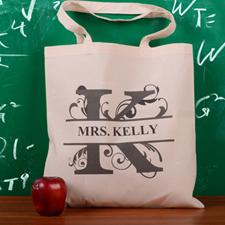 Personalized Initial K Tote Bag