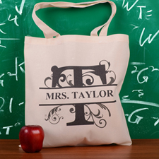 Personalized Initial T Tote Bag