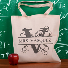 Personalized Initial V Tote Bag