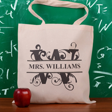 Personalized Initial W Tote Bag