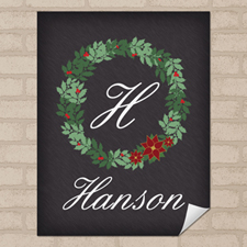 Chalkboard Christmas Wreath Personalized Poster Print Small 8.5