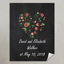 Chalkboard Floral Wedding Personalized Poster Print, Small 8.5