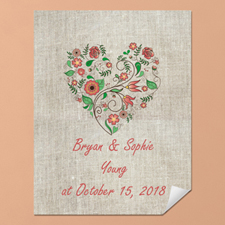 Linen Floral Wedding Personalized Poster Print, Small 8.5