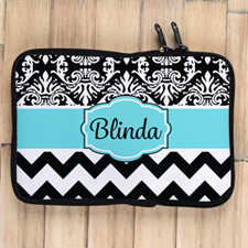 Chevron And Floral Personalized Ipad Mini Sleeve