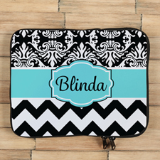 Chevron And Floral Personalized Ipad Sleeve
