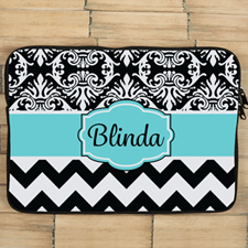 Chevron and Floral Personalized MacBook Air 13 Sleeve