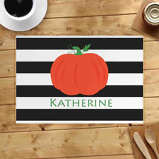 Personalized Stripes Pumpkin Placemats