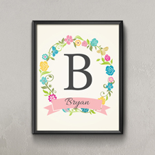 Colorful Wreath Personalized Name Poster Print