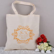 Orange Swirly Script Bridesmaid Personalized Wedding Tote Bag