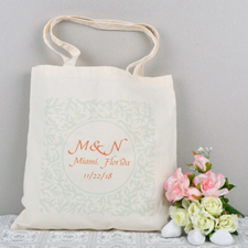 Aqua Floral Personalized Tote Bag
