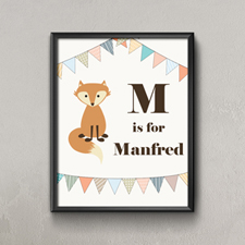 Fox Personalized Poster Print For Kids Small 8.5