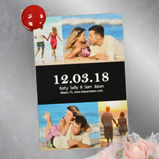 Black Collage Personalized Save The Date Photo Magnet, 4x6 Large