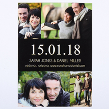 Black Four Collage Personalized Save the Date