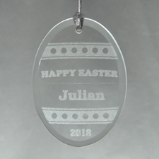 Happy Easter Personalized Engraved Glass Ornament