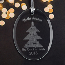 Personalized Laser Etched It's The Season Glass Ornament
