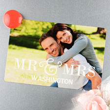 Mr & Mrs Personalized Wedding Photo Magnet 4x6 Large
