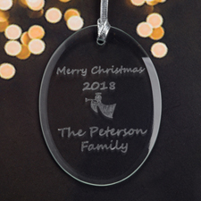 Personalized Laser Etched Angel Horn Glass Ornament