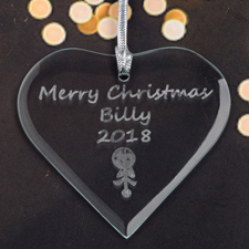 Personalized Engraved Baby Rattle Heart Shaped Ornament