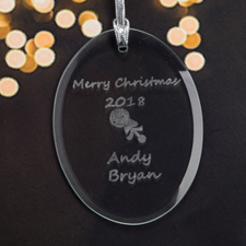 Personalized Laser Etched Baby Rattle Glass Ornament