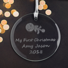 Personalized Engraving Baby Rattle Round Glass Ornament