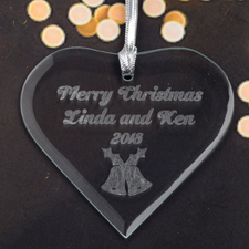 Personalized Engraved Bells Heart Shaped Ornament