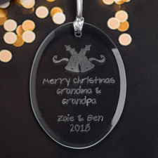 Personalized Laser Etched Bells Glass Ornament