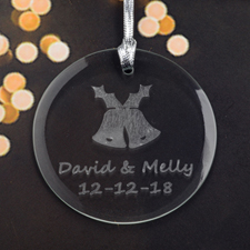 Personalized Engraving Bells Round Glass Ornament