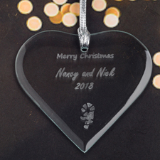Personalized Engraved Candy Cane Heart Shaped Ornament